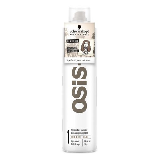 Schwarzkopf Shampoing sec pigmenté Osis+ Boho rebel Dark 300ML, Shampoing sec