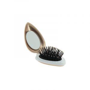 Olivia Garden Mini brosse de poche pliante miroir Bronze - Holiday Love, Brosse démêlante