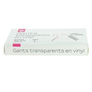 Gants blancs transparents en vinyl taille L x50