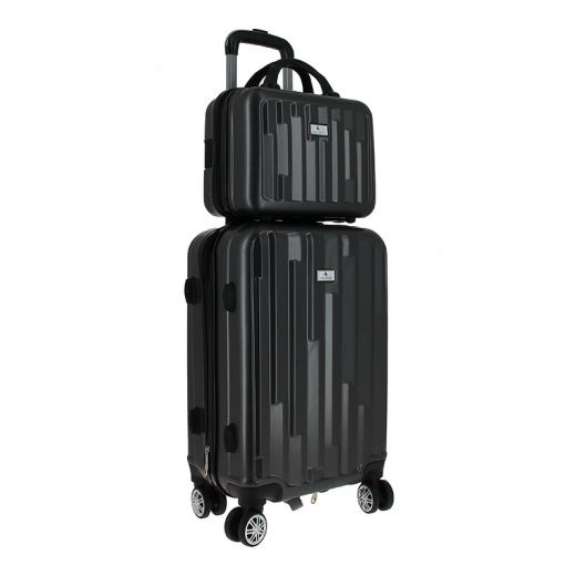 Bleu Libellule Set de bagagerie Glossy Anthracite - Valise trolley & vanity, Bagagerie