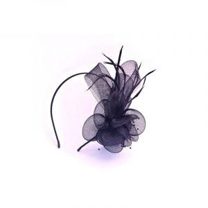 Queen Pam Serre-tête voilette & plume Noir, Serre-tête
