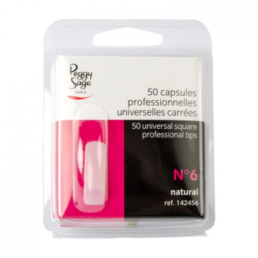 Peggy Sage Capsules professionnelles universelles n°6 x50 Carrée, Capsules ongles