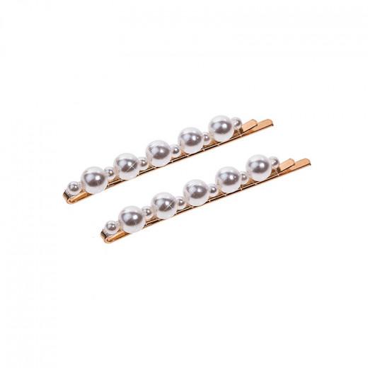 Atout Beauté Lot de 2 pinces-guiches à perles Blanche, Pince