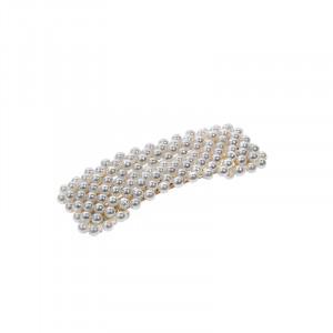Atout Beauté Barrette clic-clac rectangulaire à perles Blanche, Barrette