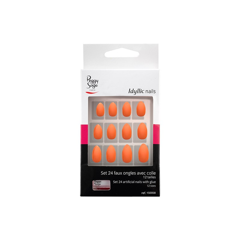 Peggy Sage Faux ongles Idyllic nails Set x24 Coral stiletto, Faux-ongles