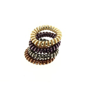 Queen Pam Hair ring x4 Doré Bronze Violet Gris, Elastique