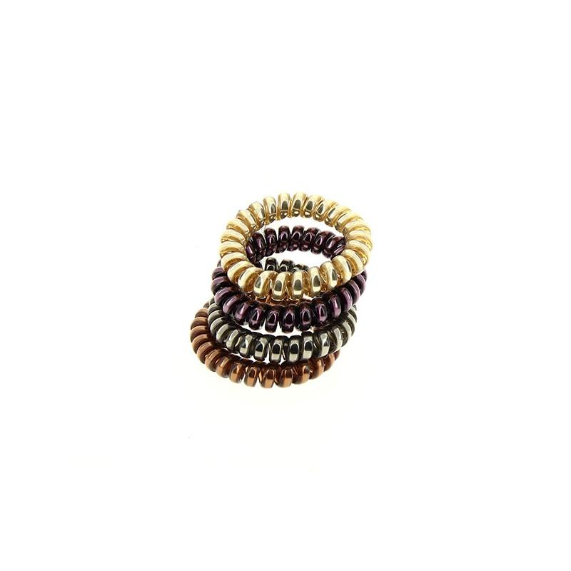 Queen Pam Hair ring x4 Doré Bronze Violet Gris, Elastique