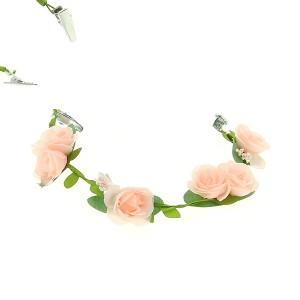 Headband Fleurs rose poudré