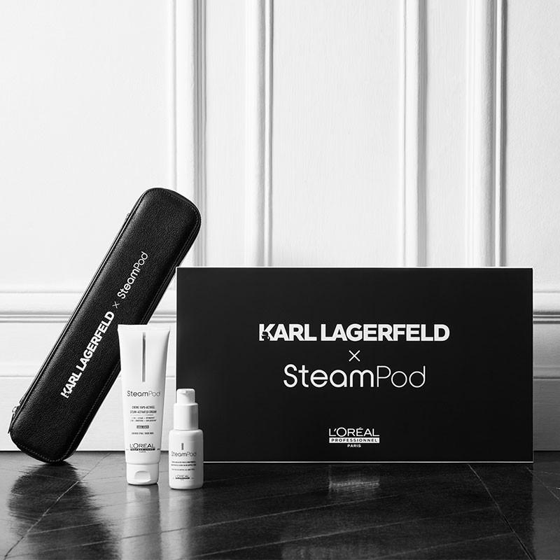 Pack Steampod 3.0 Karl Lagerfeld cheveux épais Lisseur 2-en-1 + étui Noir