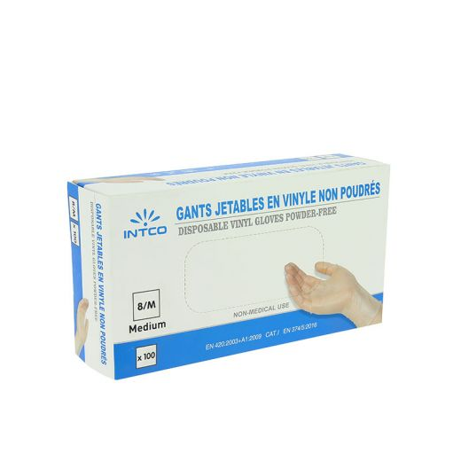 Boîte de 100 gants jetables en vinyle non poudrés Transparent taille M