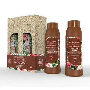 Brazilian Secrets Hair Kit lissage brésilien Pro Keratin (2x500ml) 1000ML, Kit lissage brésilien