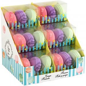 Présentoir 12 sets de 3 éponges macarons
